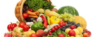basket overflowing with fruits and vegetables